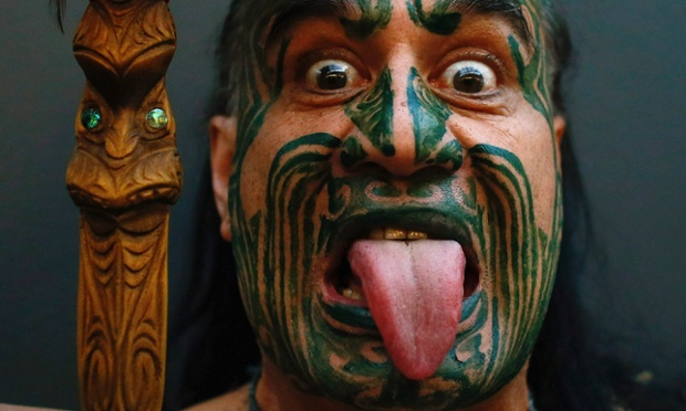 New Zealand's ethnic Maori Metini Mitai Ngatai poses prior to the official opening of the book fair in Frankfurt. The world's largest book fair runs from October 9 to October 14 and has a special feature highlighting the literature of New Zealand.