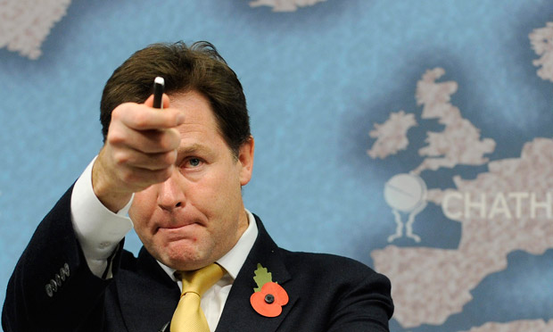 Nick Clegg delivers a speech at Chatham House in London on 1 November 2012.
