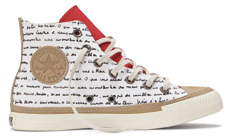Oscar Niemeyer's Converse trainers are decorated with a handwritten poem about curves