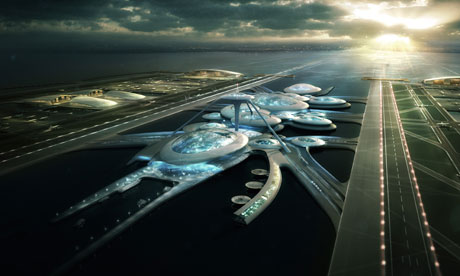 Gensler's proposal for a floating airport in the Thames estuary, image by Vyonyx