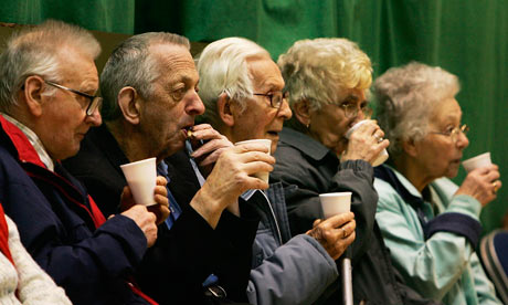 Pensioners drink tea