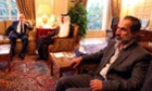 The new leader of the Syrian opposition Moaz Al-Khatib meets the Qatari prime minister Sheikh Hamad Bin Jassim Bin Jabr Al-Thani and Arab League secretary general Nabil al-Arabi in Cairo.