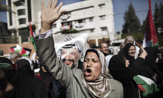 Palestinians gather in Gaza City for a demonstration calling for the end of the political division between the Hamas-led leadership in the Gaza Strip and the Palestinian Authority led by Fatah in the West Bank city of Ramallah