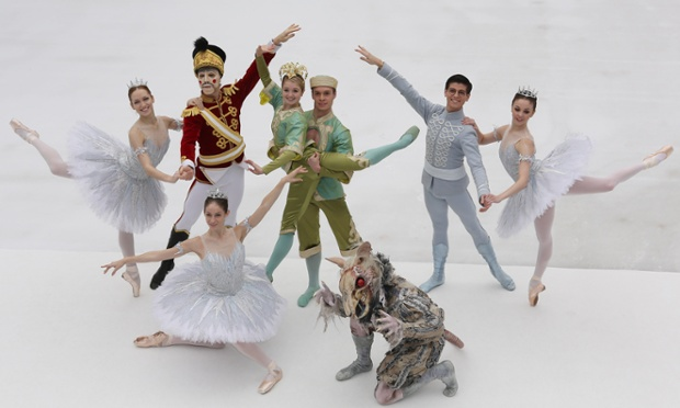 Members of the English National Ballet have been dancing on ice this morning at a photocall for their production of The Nutcracker at the Natural History Museum ice rink in London