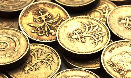 Pile of one pound coins