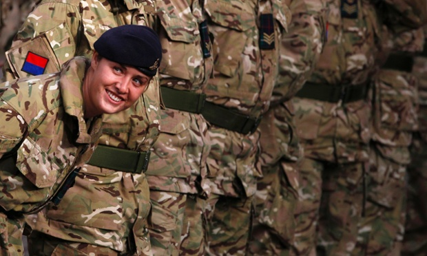 Gunner Fiona Pead from the 19th Regiment Royal Artillery (The Highland Gunners) is photographed checking the line before a homecoming parade in Dundee marking their return from Afghanistan.
