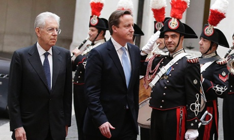 The Italian prime minister, Mario Monti (left), and David Cameron review an honour guard during a meeting at Chigi Palace in Rome