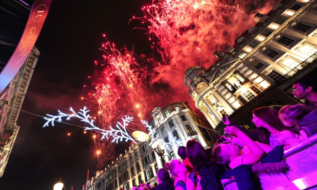And soon after switch on the fireworks lit the skies above Regent Street Christmas Lights in London. Photograph: Ian West/PA