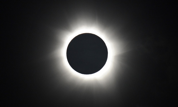 Totality is shown during the solar eclipse at Palm Cove in Australia's Tropical North Queensland. Photograph: Greg Wood/AFP/Getty Images