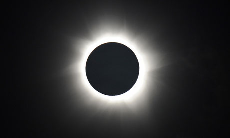 Totality is shown during the solar eclipse