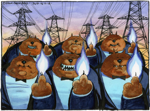 Steve Bell cartoon on the gas-trading scandal