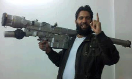 A photo purporting to show a Syrian rebel with an SA24 surface-to-air missile.