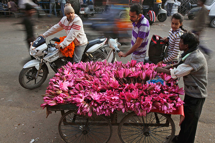 24 hours in pictures: A roadside vendor selling water lilies