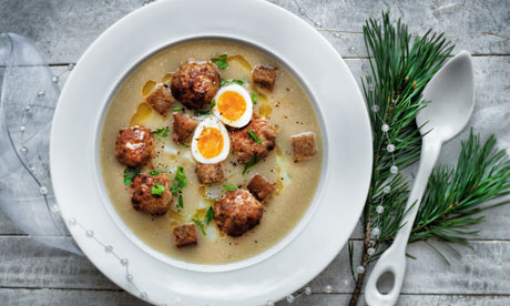 Rye flour and meatball soup