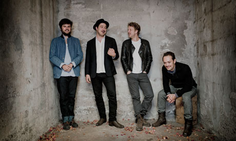 Mumford and Sons, l to r, Winston Marshall, Marcus Mumford, Ben Lovett and Ted Dwane.