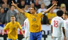 Zlatan Ibrahimovic celebrates scoring against England in Sweden's 4-2 victory on Wednesday
