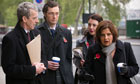 Peter Capaldi as Malcolm Tucker and Rebecca Front as Nicola Murray in The Thick of It