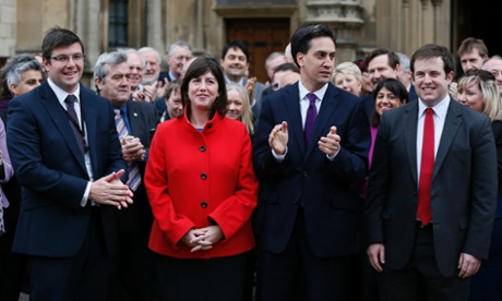 New Labour MPs Andy Sawford (left), Lucy Powell and Stephen Doughty (right) pose with Labour leader Ed Miliband outside parliament