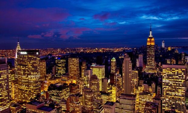 This shot shows how Lower Manhattan remains dark and mostly without power after superstorm Sandy.