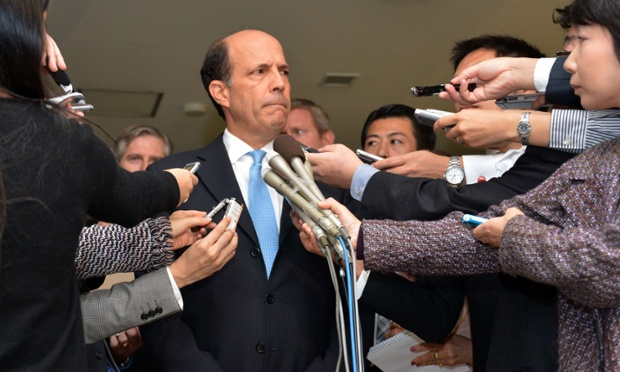 A tight-lipped US ambassador to Japan, John Roos, faces the media as he delivers a statement after meeting with Japanese vice foreign minister Shuji Kira about an alleged assault by a US serviceman in Japan. Photograph: Yoshikazu Tsuno/AFP/Getty Images