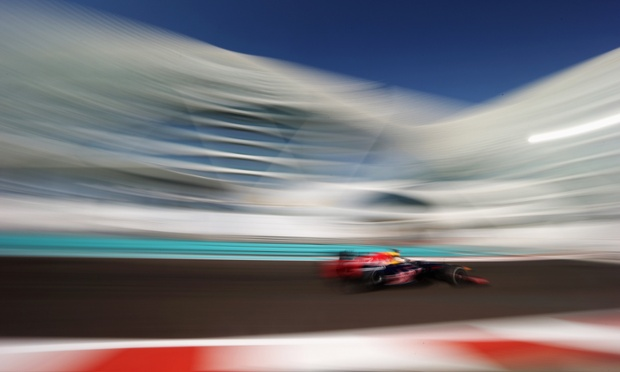 It's all just a blur as Sebastian Vettel of Red Bull Racing drives during practice for the Abu Dhabi Formula One Grand Prix at the Yas Marina Circuit in Abu Dhabi, United Arab Emirates.
