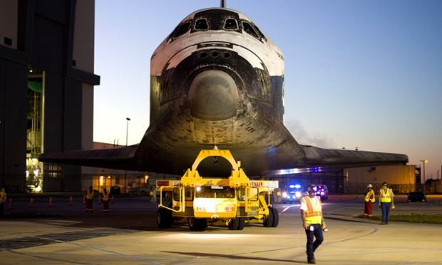 Space Shuttle Atlantis leaves the Vehicle assembly building on its way to the Kennedy Space Centre visitor Complex in Cape Canaveral, Florida.