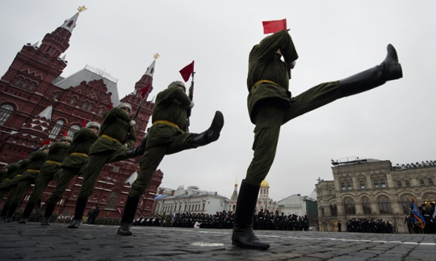 Russian soldiers take part in a rehearsal for a military parade in Red square, Moscow. The event will take place on November 7, marking the 71th anniversary of a historical parade of 1941, when soldiers left for a front line straight afterwards.