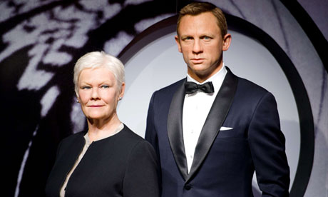 Wax figures of British actors Dame Judi