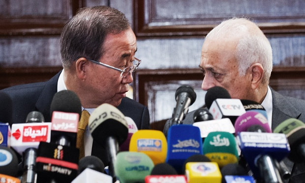 United Nations Secretary General Ban Ki-moon speaks with Arab League Secretary General Nabil al-Araby during a joint press conference in Cairo. UN chief Ban Ki-moon is in Cairo on the first leg of a visit to support Egyptian-mediated efforts for a ceasefire between Israel and Hamas in Gaza.