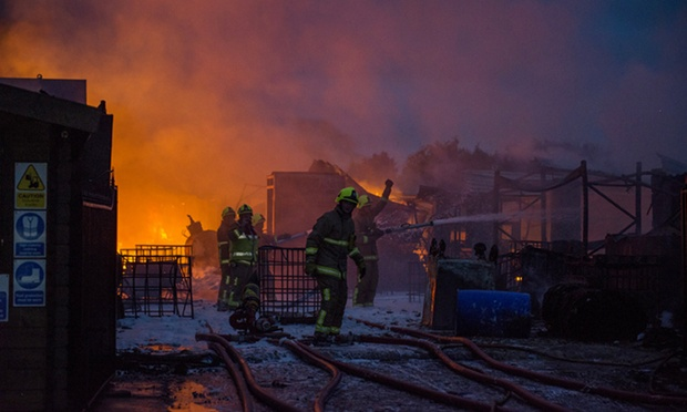 Firefighters have been tackling a blaze involving 160,000 litres of cooking oil at a storage yard in Little Warley, near Brentwood, Essex. Crews from across London and Essex have been using foam and water jets to bring the fire under control.