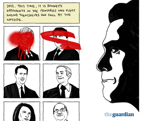 Mitt Romney's campaign opponents, as illustrated by Greg Chen for the Guardian's US election interactive