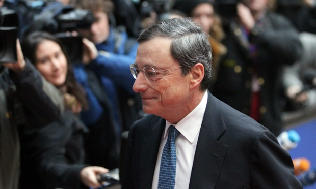 European Central Bank (ECB) President Mario Draghi arrives at a Euro Group finance ministers council at the EU  headquarters in Brussels, Belgium, 20 November 2012.