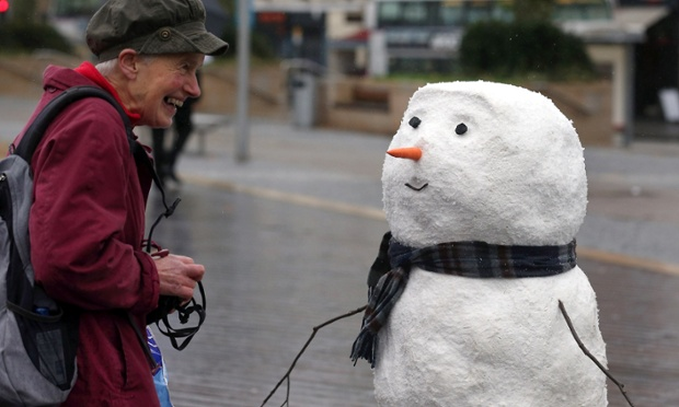 A snowman attracts attention in Bristol, not least because..er ...it hasn't been snowing. The star of the current John Lewis Christmas ad is travelling across the UK over the coming weeks and will be appearing in unexpected city locations. Passers-by are being asked to share their pictures of the snowman if they spot him en route using the hashtag snowmanjourney.