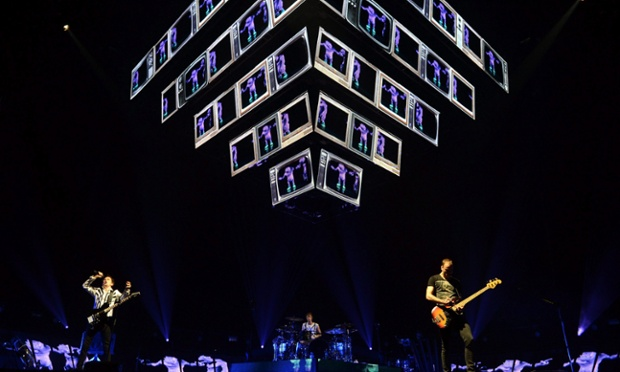 British rock band Muse perform in Papp Laszlo Budapest Sportsarena in Budapest, Hungary. Photograph: Tamas Kovacs/EPA