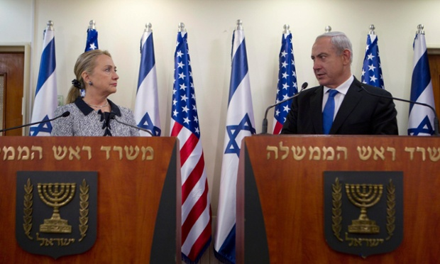 Israel's Prime Minister Benjamin Netanyahu and U.S. Secretary of State Hillary Clinton deliver joint statements in Jerusalem. The United States signaled that a Gaza truce could take days to achieve after Hamas backed away from an assurance that it and Israel would stop exchanging fire within hours.