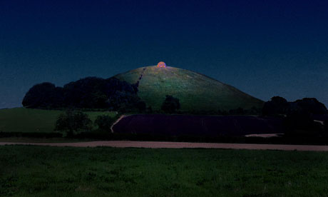 image of glowing breast beacon on the hill