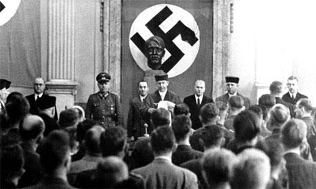 Nazi lawyer and judge Roland Freisler, proclaims sentence