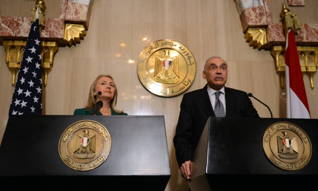 Egyptian foreign minister Mohamed Kamel Amr and US secretary of state Hillary Clinton announce a truce between Hamas and Israel.