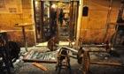 Damaged furniture outside the Drunken ship pub at Campo de' Fiori Square in Rome