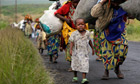 Congolese flee the eastern town of Sake, near Goma
