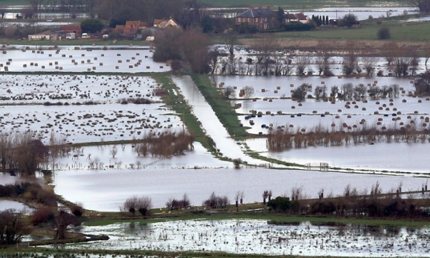 Flood water can be seen in fields surrounding the Glastonbury Tor on the Somerset Levels.