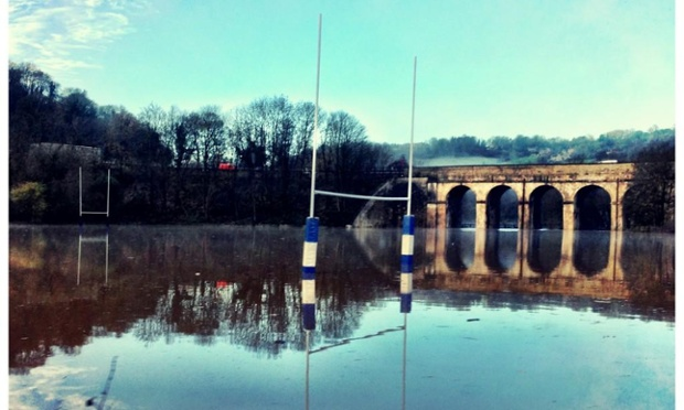 @Paulallenmorris has sent us this pictures via Twitter #Novflooding of a flooded Rugby pitch on the borders of Somerset and Wiltshire .