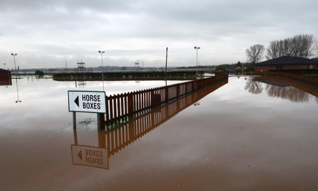 Another racecourse badly affected: the flooded entrance to Southwell Racecourse, Nottinghamshire, today.