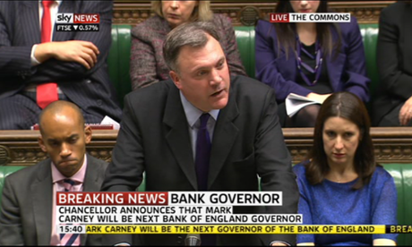 Ed Balls speaking about Mark Carney's appointment