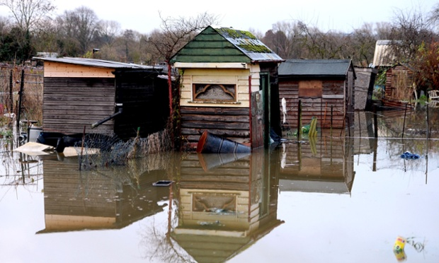 General view of a flooded allotment on the outskirts of Oxford.