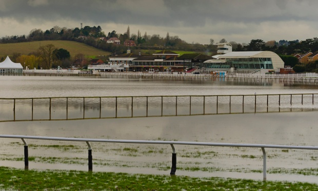 The going is soft at Stratford-upon-Avon racecourse as the track is totally flooded in this photograph from benjinat17.