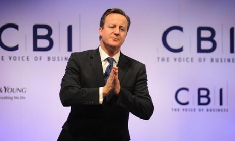 Prime Minister David Cameron makes a speech last week.