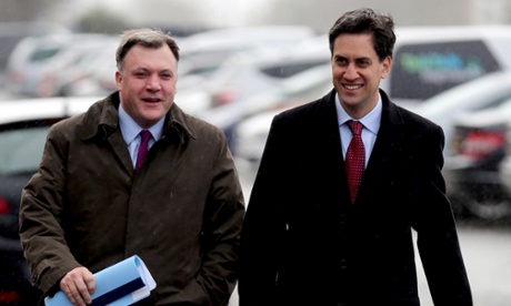 Labour Leader Ed Miliband, and Shadow Chancellor Ed Balls, arrive at Propak Sheet Metal Ltd in Stevenage, Hertfordshire ahead of a  Pre Autumn Statement Q and A session held on the factory floor.