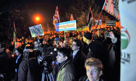 Activists and followers of the Jobbik party protest against the Israeli air strikes on Gaza