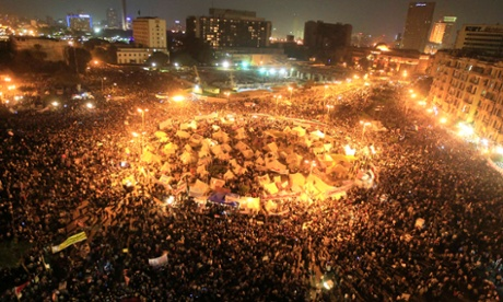 A view of anti-Morsi protesters gathering at Tahrir Square in Cairo, Egypt